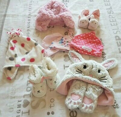 Girls Hats Mitts & Booties Bundle 0-6 Months 1 New With tags