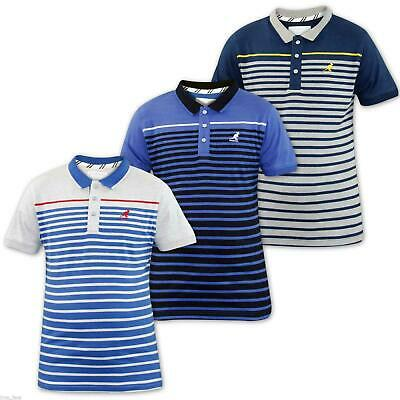 Kangol Mens Polo Shirt Yarn Dyed Stripe T-Shirts Casual T Shirts Top Multi-color