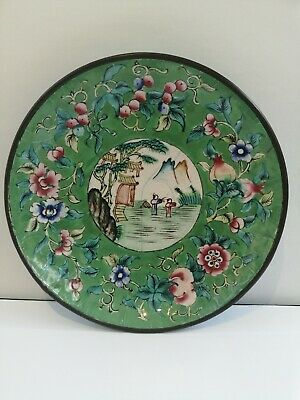 Antique Chinese Enameled Hand Painted Bronze Dish - Green Turquoise Blue Red