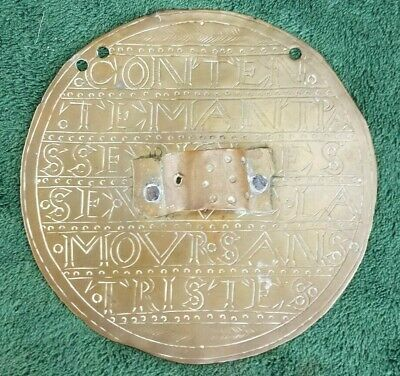 Rare Brass 18th century Plaque Muletiere or Muletiere plate