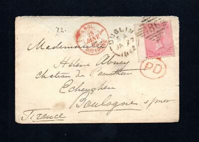 IRELAND POSTAL HISTORY: 4d NO CORNER LETTERS ON 1862 COVER DUBLIN TO FRANCE