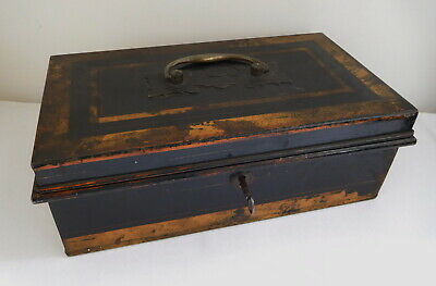 Antique Tole Painted Black Tin Cash Deed Security Storage Box with Locking Key