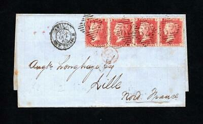 IRELAND POSTAL HISTORY: PENNY RED PLATE 72 x4 ON 1865 WRAPPER BELFAST TO FRANCE