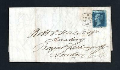 IRELAND POSTAL HISTORY: 2d BLUE PLATE 9 ON 1864 ENTIRE CORK TO LONDON