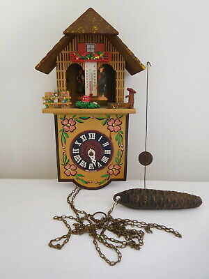Vintage Western Germany Chalet Figure Wall Clock Black Forest Cuckoo Style
