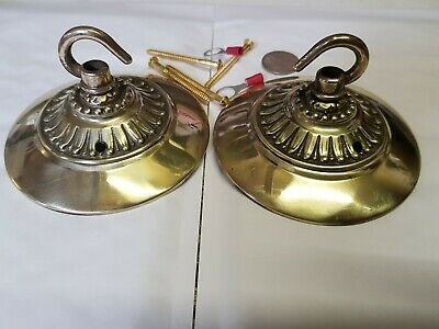 2 x LARGE 106mm CEILING ROSE chandelier hook FRENCH brass VINTAGE old c1910 2xF