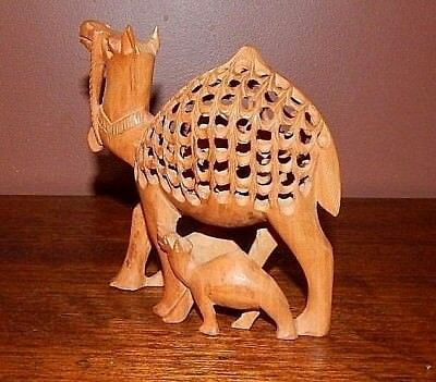 Pregnant Wood Camel. Hand carved long before computers grew hands.