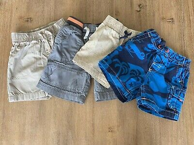 4 Pair Shorts Baby Boy Toddler 12 Months Lot Pre Owned Carters Jumping Beans