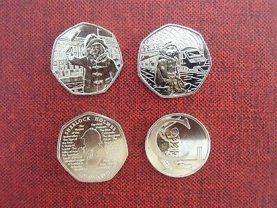 Job Lot COINS : 50p x 3 & 10p x 1 : 2018 & 2019 : Paddington, Sherlock, Letter C