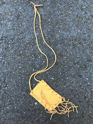"""Native American Leather Medicine Bag  Necklace Pouch  Handmade  4.5"""" Amulet"""