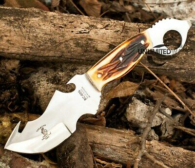 "8.75"" BONE COLLECTOR FIXED BLADE GUT HOOK SKINNING KNIFE Hunting Bowie Skinner"