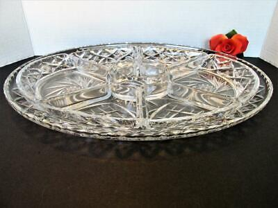 Beautiful Vintage Cut Lead Crystal Glass Tray Removable Dividers Serving Kt5204