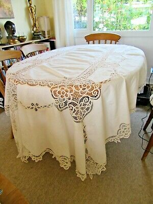 """Very Pretty Large Off White Vintage Style Tape Lace Tablecloth 100"""" X 64"""""""