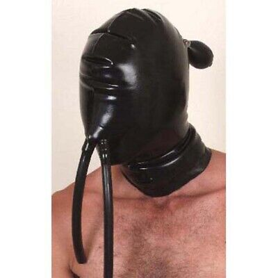 Latex Inflatable Hood with Nose Tubes - Rubber Mask Clothing