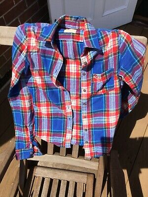 Superdry Ladies Shirt XS blue/red check brushed cotton roll sleeves