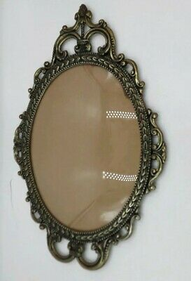 """Vintage Brass Ornate Metal Oval Picture Frame Convex Bubble Dome Glass 17""""x12"""""""