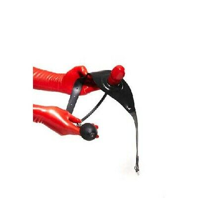 Red Rubber Pump Up Gag on Black Headstrap - Latex