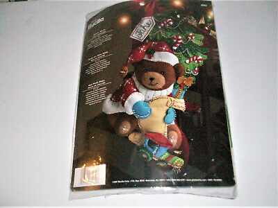 "Bucilla Santa Teddy Bear ~ 18"" Felt Christmas Stocking Kit #86062, Tree, Train"
