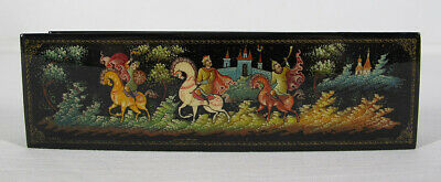 Antique/Vintage Russian Lacquer Box From Village Palekh Fairy Tale GORGEOUS yqz
