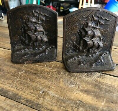 Antique Heavy Bronze Bookends Sailing Ships Galleon