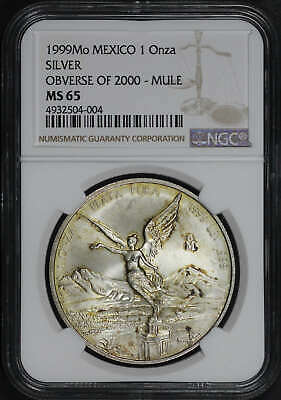 1999-Mo Mexico Silver Libertad 1 Onza Obverse of 2000-Mule NGC MS-65 -181490