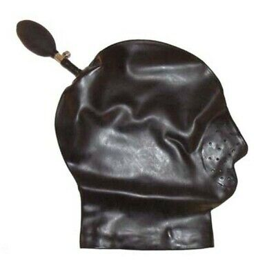 Latex Inflatable Hood with Mouth Grille - Rubber Shiny Hood