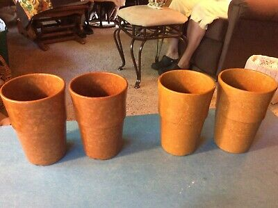 4 Vtg 1952 1962 heavy duty brown Melmac Tumblers Drinking Glasses g/w Dinnerware