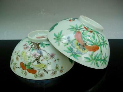 Pair Of Antique Chinese Famille Rose Bowls With Butterflies, Jiaqing Mark