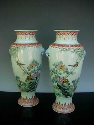 Pair Of Chinese Famille Rose Vases With Inscriptions & Seals