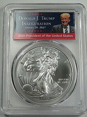 2019 Silver American Eagle Dollar. TRUMP Label PCGS MS70 First Day of Issue. #13