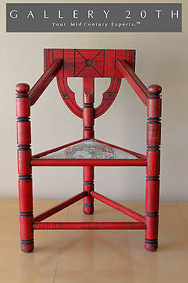 Epic! Chinese Ming Dynasty Style Triangle Palace Arm Chair! Vtg 20Th Retro Red