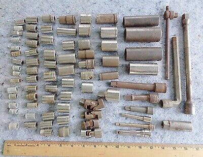 lot of 75+ DRIVE sockets WRENCH extensions SWIVELS MIXTURE OF SIZES etc