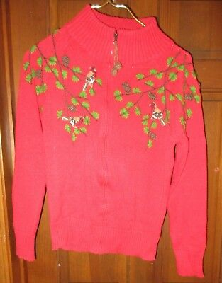 Ugly Christmas Sweater Women Size Small Birds Pine Cone Trees 3-D Pine Cone Pull