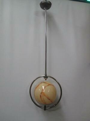 Ceiling light, Art Deco, glass and chrome, great vintage