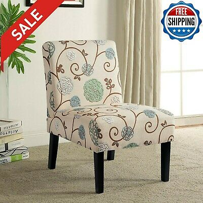 Dining Armless Fabric Accent Chair Cushioned Seating Solid Wood Leg Kitchen Room