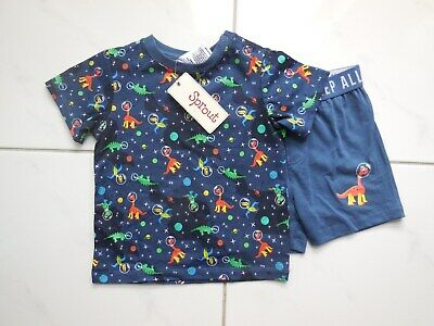 'Sprout' Baby Boy Cotton Pyjamas Set Top Shorts 2 Pce Size 1 Fits 12M *New