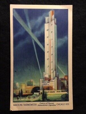 1933 Worlds Tallest Thermometer Chicago World's Fair Havoline Oil Co. Post Card!