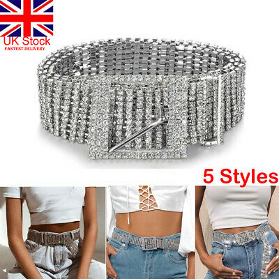 UK Women Belt Full Rhinestone Waist Chain Inlaid Waistband Shiny Crystal Diamond