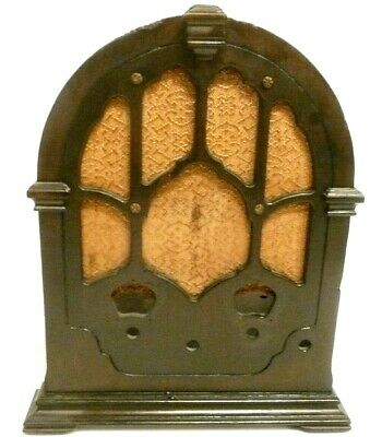"""vintage RCA 120  CATHEDRAL:  WOOD SHELL & GRILL CLOTH  ... 16""""  x  13  x  9"""
