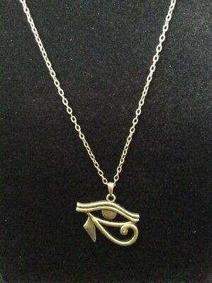 Brass Egyptian Necklace with Wadjet Eye of Horus Pendant Jewelry Design