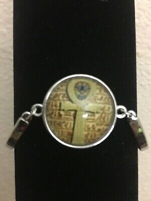 Ancient Egyptian Ankh Silver Alloy Cabochon Egypt Unisex Bracelet Bangle