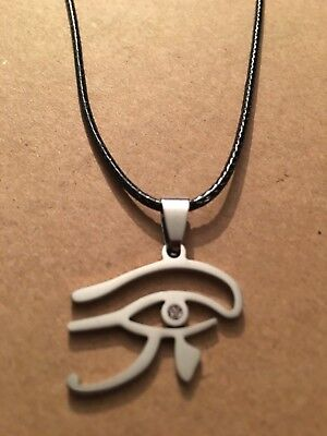 Ancient Egyptian Horus Eye Symbol Silver African Pendant PU Leather Necklace