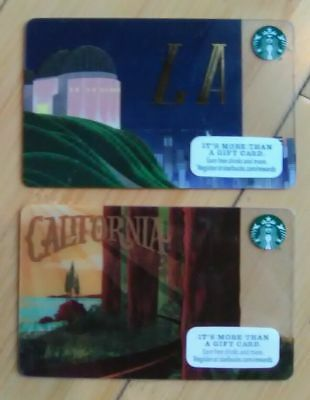 2 NEW STARBUCKS Los Angeles Griffith Observatory CALIFORNIA redwoods Gift Card