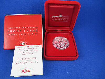 2000 AUSTRALIAN LUNAR YEAR OF THE DRAGON - SILVER PROOF 1/2oz COIN - NUMBERED 95