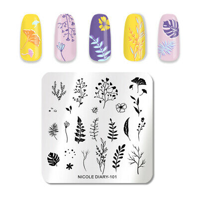 NICOLE DIARY Square Nail Stamping Plate Flower Leaves Patterns Nail Art Tools