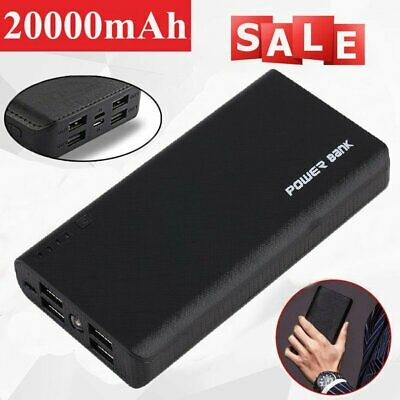 20000mAh 4USB Power Bank Portable External LCD Battery Charger For Cell Phone SG