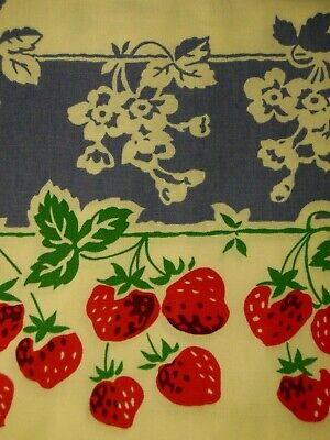"""STRAWBERRY Tablecloth Brand NEW REPRO Large KITSCH'n Couture COTTON Red Blue 86"""""""