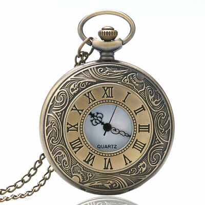 Quartz Pocket Watch Bronze Hollow Carving Pendant with Chain Roman Numeral Dial