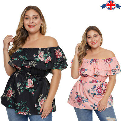 NEW OFF SHOULDER RUFFLE FRILL PLAIN PRINTED LADIES TOP BLOUSE TUNIC UK 8-26