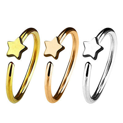 Star Nose Hoop Ring Septum Clicker Ear Helix Tragus Cartilage Lip Ring Piercing
